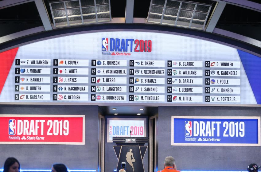 Jun 20, 2019; Brooklyn, NY, USA; A general view of the draft board following the first round of the 2019 NBA Draft at Barclays Center. Mandatory Credit: Brad Penner-USA TODAY Sports