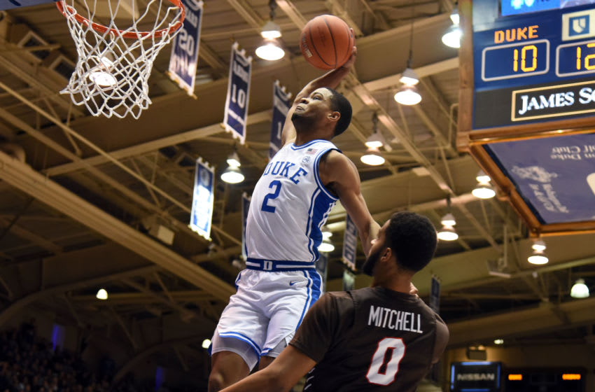 Dec 28, 2019; Durham, North Carolina, USA; Duke Blue Devils guard Cassius Stanley (2) dunks in front of Brown Bears forward David Mitchell (0) during the first half at Cameron Indoor Stadium. Mandatory Credit: Rob Kinnan-USA TODAY Sports