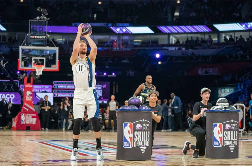 February 15, 2020; Chicago, Illinois, USA; Indiana Pacers forward Domantas Sabonis (11) participates in the skills challenge during NBA All Star Saturday Night at United Center. Mandatory Credit: Kyle Terada-USA TODAY Sports