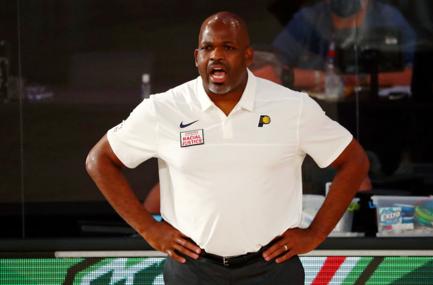 Aug 10, 2020; Lake Buena Vista, Florida, USA; Indiana Pacers head coach Nate McMillan gives instruction during the first half of a NBA basketball game against the Miami Heat at Visa Athletic Center. Mandatory Credit: Kim Klement-USA TODAY Sports