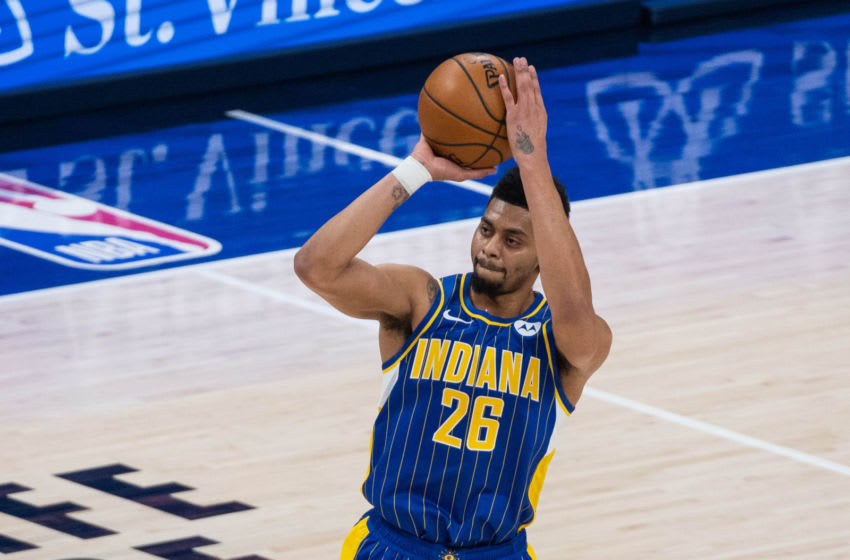 Feb 15, 2021; Indianapolis, Indiana, USA; Indiana Pacers guard Jeremy Lamb (26) shoots the ball in the third quarter against the Chicago Bulls at Bankers Life Fieldhouse. Mandatory Credit: Trevor Ruszkowski-USA TODAY Sports