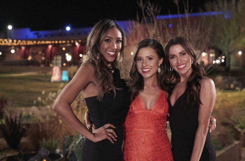 THE BACHELORETTE - Ò1701Ó Ð Katie Thurston sets off on her journey to find love with her charm, wit and take-no-nonsense attitude that fans fell in love with during her time on ÒThe Bachelor.Ó With the help of former Bachelorettes and mentors Kaitlyn Bristowe and Tayshia Adams by her side, Katie is ready to meet her men; with 30 lucky potential suitors pulling out all the stops, props and moves in hopes of catching her eye before the first rose ceremony. Strap in, itÕs going to be a season like no other on ÒThe Bachelorette,Ó airing MONDAY, JUNE 7 (8:00-10:00 p.m. EDT), on ABC. (ABC/Craig Sjodin) TAYSHIA ADAMS, KATIE THURSTON, KAITLYN BRISTOWE