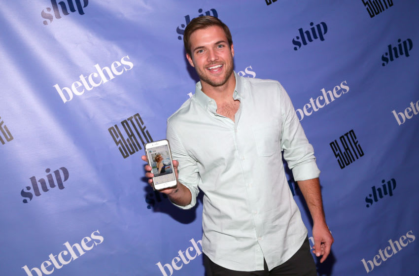 NEW YORK, NEW YORK - MARCH 12: Jordan Kimball displays the app 'ship' during the Betches Media Bachelor Finale Viewing Party Presented By Ship on March 12, 2019 at Slate New York in New York City. (Photo by Astrid Stawiarz/Getty Images for Betches & Ship)