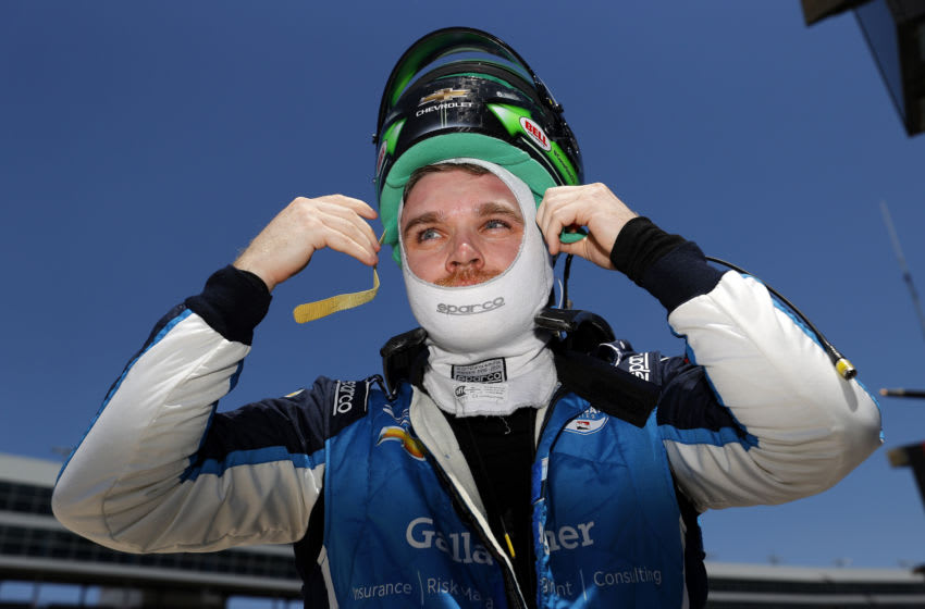 FORT WORTH, TEXAS - JUNE 06: Conor Daly, driver of the #59 Gallagher Carlin Chevrolet, prepares for practice for the NTT IndyCar Series - Genesys 300 at Texas Motor Speedway on June 06, 2020 in Fort Worth, Texas. (Photo by Tom Pennington/Getty Images)