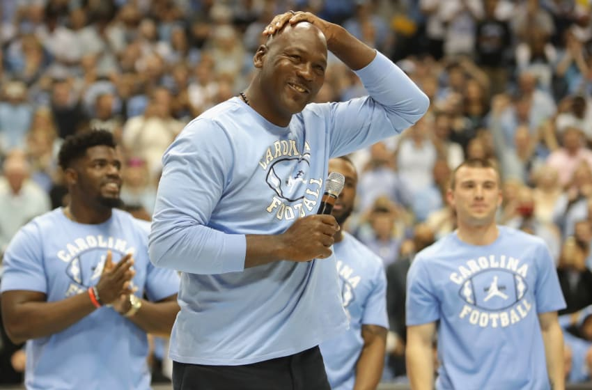 CHAPEL HILL, NC - MARCH 04: Michael Jordan speaks to the crowd at halftime during their game against the Duke Blue Devils at the Dean Smith Center on March 4, 2017 in Chapel Hill, North Carolina. (Photo by Streeter Lecka/Getty Images)
