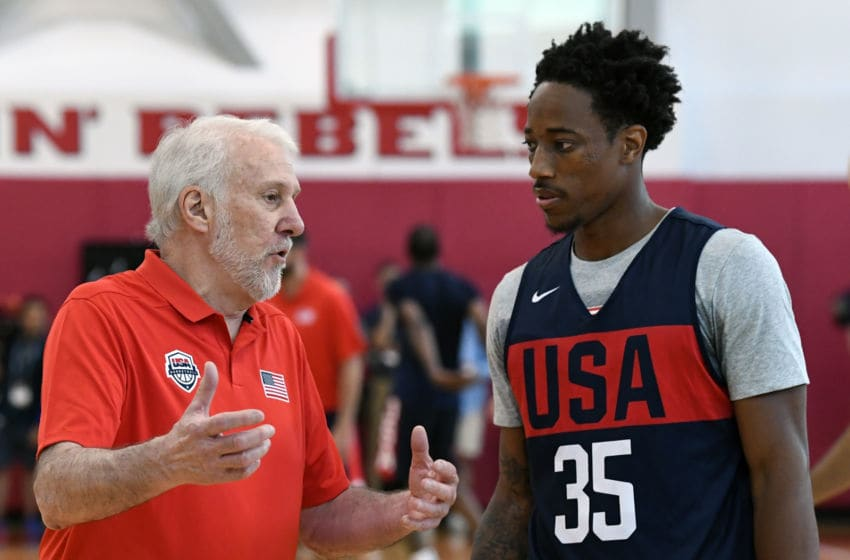LAS VEGAS, NV - JULY 26: Head coach Gregg Popovich of the United States works with DeMar DeRozan #35 during a practice session at the 2018 USA Basketball Men's National Team minicamp at the Mendenhall Center at UNLV on July 26, 2018 in Las Vegas, Nevada. (Photo by Ethan Miller/Getty Images)