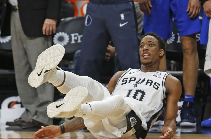 SAN ANTONIO,TX - OCTOBER 29: DeMar DeRozan #10 of the San Antonio Spurs looks at his last shot at the end of regulation miss, forcing the Spurs into OT with the Dallas Mavericks at AT&T Center on October 29 , 2018 in San Antonio, Texas. NOTE TO USER: User expressly acknowledges and agrees that , by downloading and or using this photograph, User is consenting to the terms and conditions of the Getty Images License Agreement. (Photo by Ronald Cortes/Getty Images)