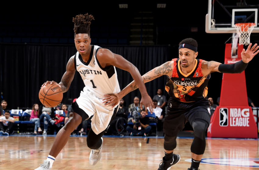 ONTARIO, CA - FEBRUARY 24: Lonnie Walker IV #1 of the Austin Spurs drives to the basket against Brandon Fields #5 of the Agua Caliente Clippers of Ontario on February 24, 2019 at Citizens Business Bank Arena in Ontario, California. NOTE TO USER: User expressly acknowledges and agrees that, by downloading and/or using this photograph, User is consenting to the terms and conditions of Getty Images License Agreement. Mandatory Copyright Notice: Copyright 2019 NBAE (Photo by Juan Ocampo/NBAE via Getty Images)