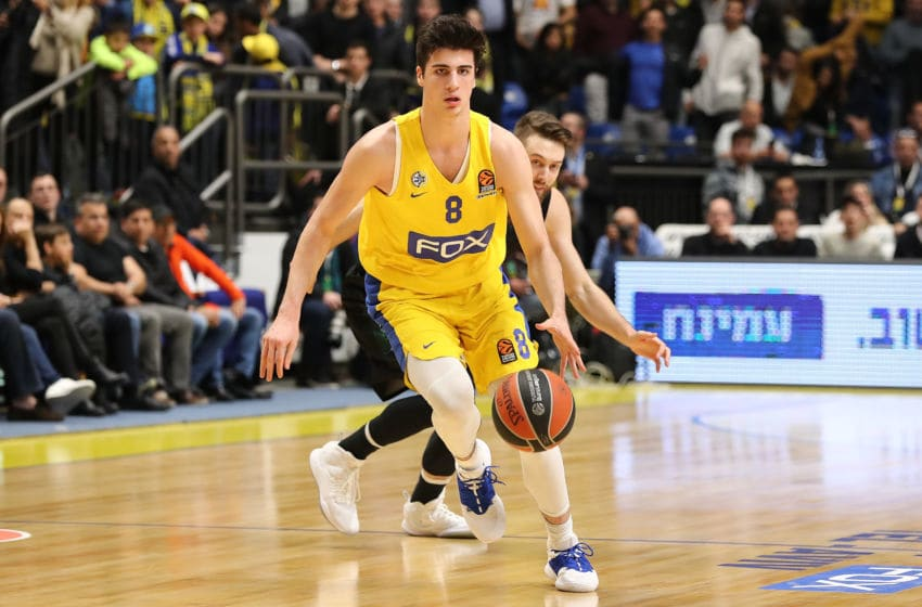 TEL AVIV, ISRAEL - FEBRUARY 28: Deni Avdija, #8 of Maccabi Fox Tel Aviv in action during the 2018/2019 Turkish Airlines EuroLeague Regular Season Round 24 game between Maccabi Fox Tel Aviv and Darussafaka Tekfen Istanbul at Menora Mivtachim Arena on February 28, 2019 in Tel Aviv, Israel. (Photo by Seffi Magriso/Euroleague Basketball via Getty Images)