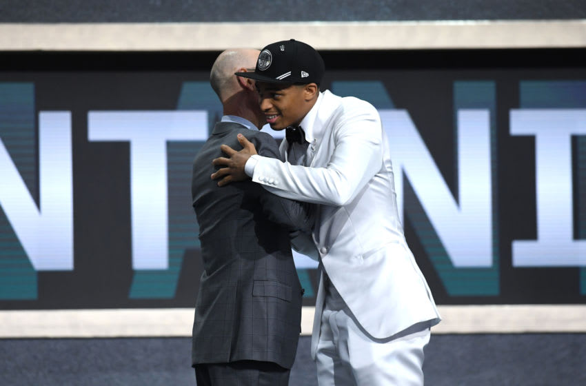 NEW YORK, NEW YORK - JUNE 20: Keldon Johnson poses with NBA Commissioner Adam Silver after being drafted with the 29th overall pick by the San Antonio Spurs during the 2019 NBA Draft. (Photo by Sarah Stier/Getty Images)