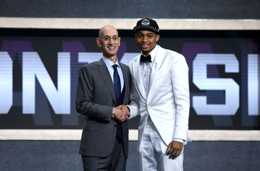 NEW YORK, NEW YORK - JUNE 20: Keldon Johnson poses with NBA Commissioner Adam Silver after being drafted with the 29th overall pick by the San Antonio Spurs during the 2019 NBA Draft at the Barclays Center on June 20, 2019 in the Brooklyn borough of New York City. NOTE TO USER: User expressly acknowledges and agrees that, by downloading and or using this photograph, User is consenting to the terms and conditions of the Getty Images License Agreement. (Photo by Sarah Stier/Getty Images)