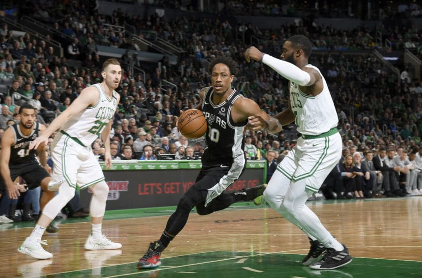BOSTON, MA - JANUARY 8: DeMar DeRozan #10 of the San Antonio Spurs handles the ball against the Boston Celtics on January 8, 2020 at the TD Garden in Boston, Massachusetts. NOTE TO USER: User expressly acknowledges and agrees that, by downloading and or using this photograph, User is consenting to the terms and conditions of the Getty Images License Agreement. Mandatory Copyright Notice: Copyright 2020 NBAE (Photo by Brian Babineau/NBAE via Getty Images)