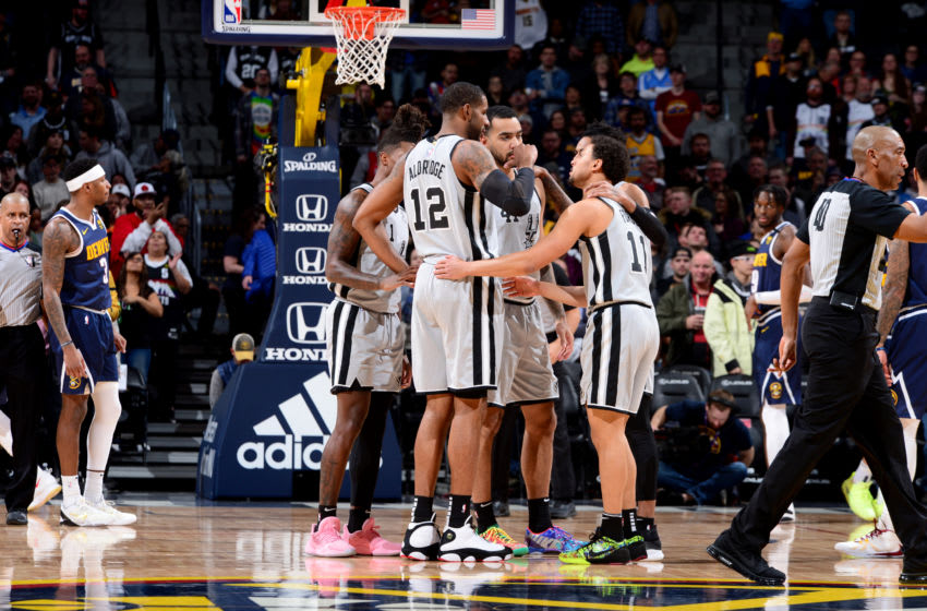 DENVER, CO - FEBRUARY 10: The San Antonio Spurs huddle up during a game against the Denver Nuggets on February 10, 2020 at the Pepsi Center in Denver, Colorado. NOTE TO USER: User expressly acknowledges and agrees that, by downloading and/or using this Photograph, user is consenting to the terms and conditions of the Getty Images License Agreement. Mandatory Copyright Notice: Copyright 2020 NBAE (Photo by Bart Young/NBAE via Getty Images)