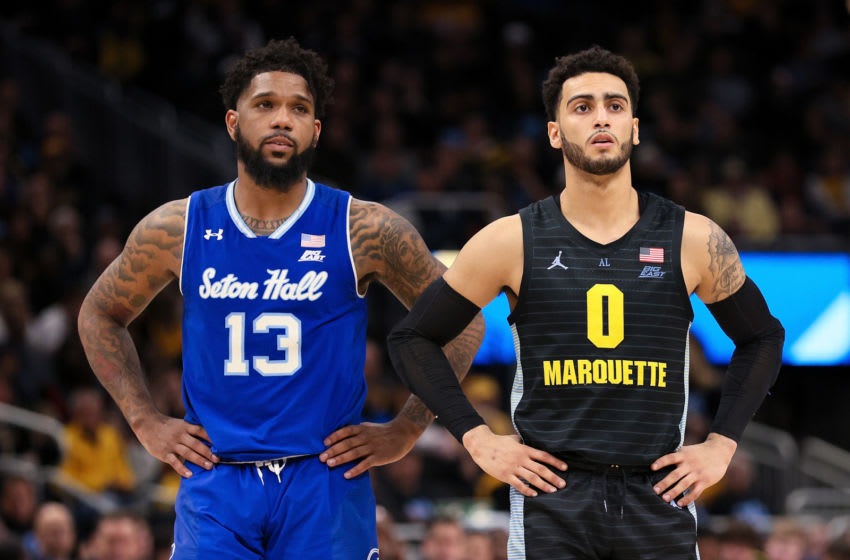 MILWAUKEE, WISCONSIN - FEBRUARY 29: Myles Powell #13 of the Seton Hall Pirates and Markus Howard #0 of the Marquette Golden Eagles look on in the second half at the Fiserv Forum on February 29, 2020 in Milwaukee, Wisconsin. (Photo by Dylan Buell/Getty Images)