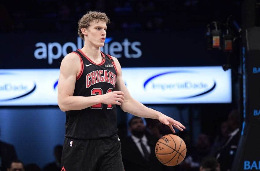 NEW YORK, NEW YORK - MARCH 08: Lauri Markkanen #24 of the Chicago Bulls handles the ball on offense against the Brooklyn Nets in the second half at Barclays Center on March 08, 2020 in New York City. NOTE TO USER: User expressly acknowledges and agrees that, by downloading and or using this photograph, User is consenting to the terms and conditions of the Getty Images License Agreement. (Photo by Steven Ryan/Getty Images)