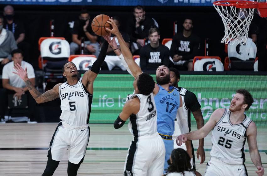 San Antonio Spurs Dejounte Murray Keldon Johnson (Photo by Ashley Landis-Pool/Getty Images)