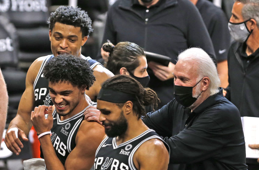 San Antonio Spurs Tre Jones Keldon Johnson Patty Mills (Photo by Ronald Cortes/Getty Images)