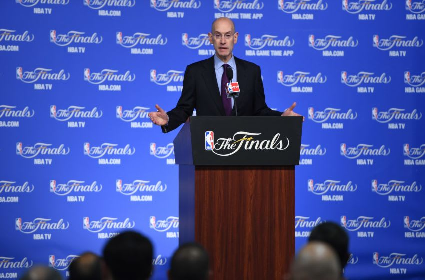 NBA Commissioner Adam Silver speaks at a press conference before Game 2 of the NBA Finals between the San Antonio Spurs and the Miami Heat, June 8, 2014 in San Antonio,Texas. AFP PHOTO / Robyn Beck (Photo credit should read ROBYN BECK/AFP via Getty Images)