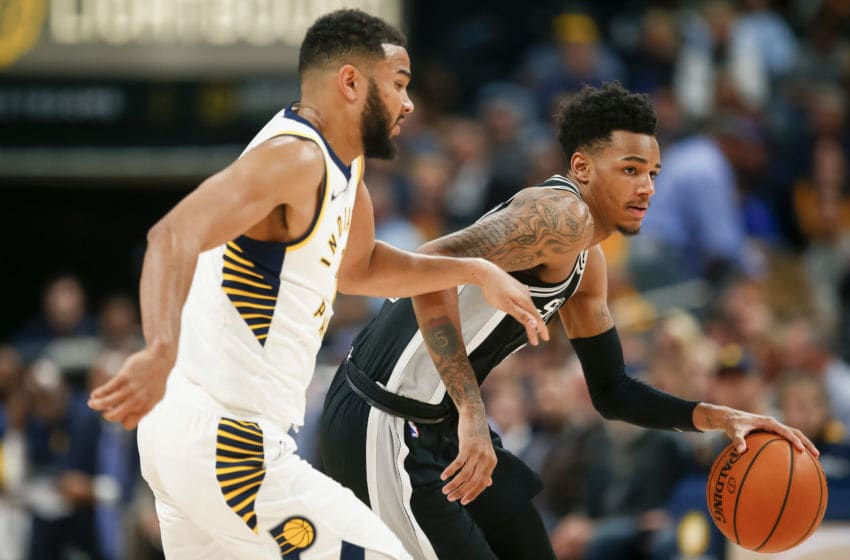 INDIANAPOLIS, IN - OCTOBER 29: Dejounte Murray #5 of the San Antonio Spurs brings the ball up court as Cory Joseph #6 of the Indiana Pacers defends at Bankers Life Fieldhouse on October 29, 2017 in Indianapolis, Indiana. NOTE TO USER: User expressly acknowledges and agrees that, by downloading and or using this photograph, User is consenting to the terms and conditions of the Getty Images License Agreement.(Photo by Michael Hickey/Getty Images)