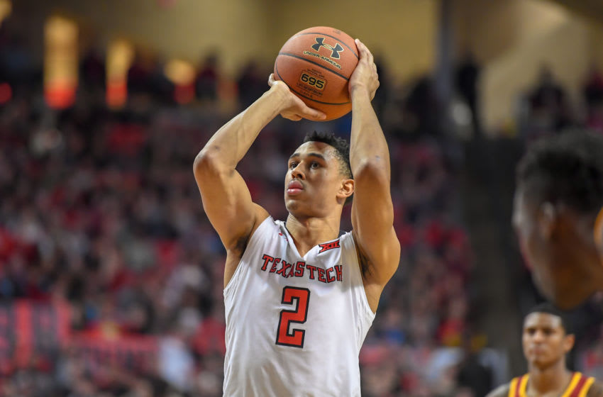 LUBBOCK, TX - FEBRUARY 07: Zhaire Smith #2 of the Texas Tech Red Raiders shoots a free throw during the game against the Iowa State Cyclones on February 7, 2018 at United Supermarket Arena in Lubbock, Texas. Texas Tech defeated Iowa State 76-58. (Photo by John Weast/Getty Images)