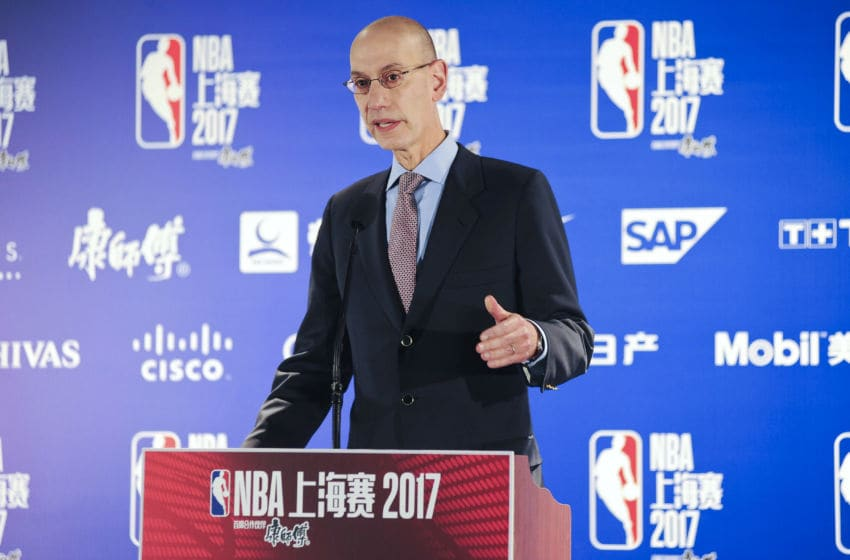 SHANGHAI, CHINA - OCTOBER 08: NBA Commissioner Adam Silver attends a press conference during the 2017 Global Games - China on October 8, 2017 in Shanghai, China. (Photo by VCG/VCG via Getty Images)