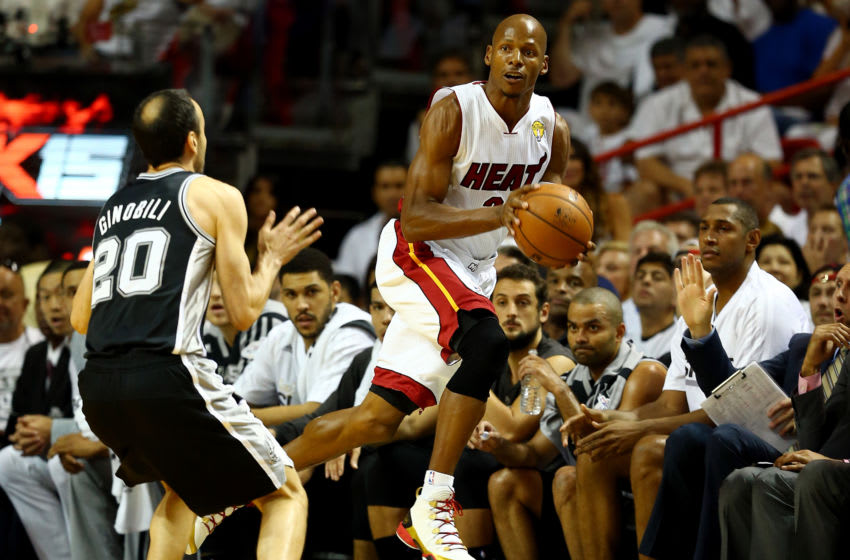 MIAMI, FL - JUNE 10: Ray Allen #34 of the Miami Heat makes a pass as Manu Ginobili #20 of the San Antonio Spurs defends during Game Three of the 2014 NBA Finals at American Airlines Arena. (Photo by Andy Lyons/Getty Images)