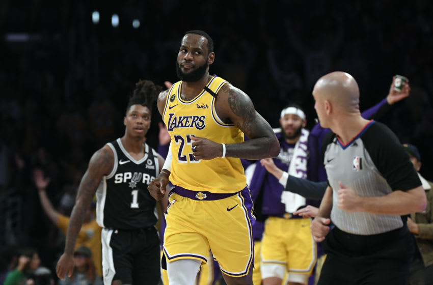 LOS ANGELES, CA - FEBRUARY 04: LeBron James #23 of the Los Angeles Lakers looks at the San Antonio Spurs bench after making his third straight straight three-point basket during the second half at Staples Center on February 4, 2020 in Los Angeles, California. NOTE TO USER: User expressly acknowledges and agrees that, by downloading and/or using this Photograph, user is consenting to the terms and conditions of the Getty Images License Agreement. (Photo by Kevork Djansezian/Getty Images)