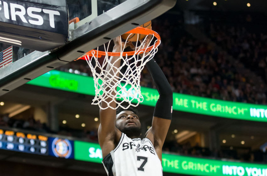 Dec 4, 2018; Salt Lake City, UT, USA; San Antonio Spurs forward Chimezie Metu (7) dunks the ball during the second half against the Utah Jazz at Vivint Smart Home Arena. Mandatory Credit: Russ Isabella-USA TODAY Sports