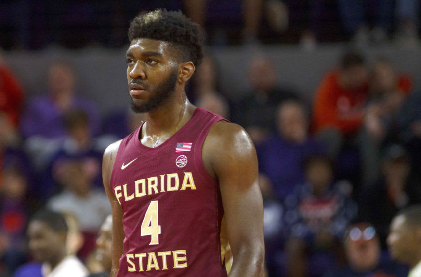Feb 29, 2020; Clemson, South Carolina, USA; Florida State Seminoles forward Patrick Williams (4) during the first half against the Clemson Tigers at Littlejohn Coliseum. Mandatory Credit: Joshua S. Kelly-USA TODAY Sports
