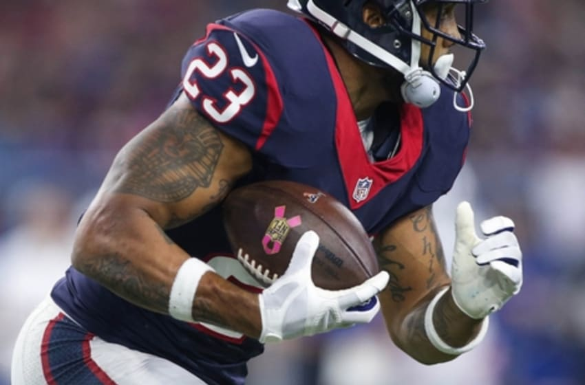 Oct 8, 2015; Houston, TX, USA; Houston Texans running back Arian Foster (23) rushes during the game against the Indianapolis Colts at NRG Stadium. Mandatory Credit: Troy Taormina-USA TODAY Sports