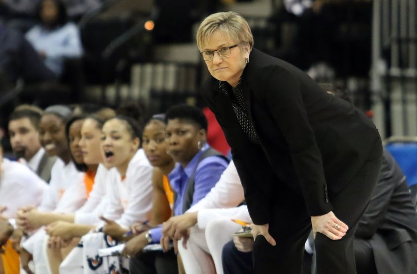 Mar 5, 2016; Jacksonville, FL, USA; Tennessee Lady Volunteers head coach Holly Warlick looks on during the first quarter against the Mississippi State Lady Bulldogs during the women