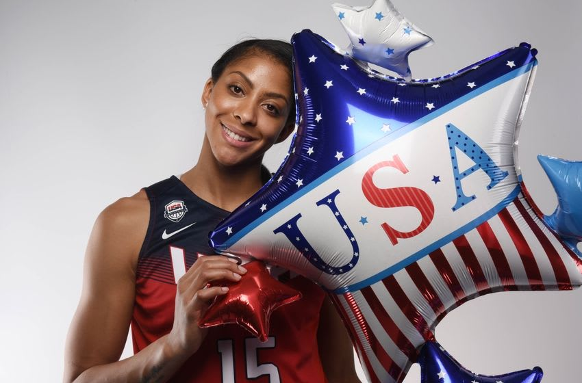 Mar 9, 2016; Los Angeles, CA, USA; USA basketball athlete Candace Parker poses for a portrait during the 2016 Team USA Media Summit at Beverly Hilton. Mandatory Credit: Robert Hanashiro-USA TODAY Sports