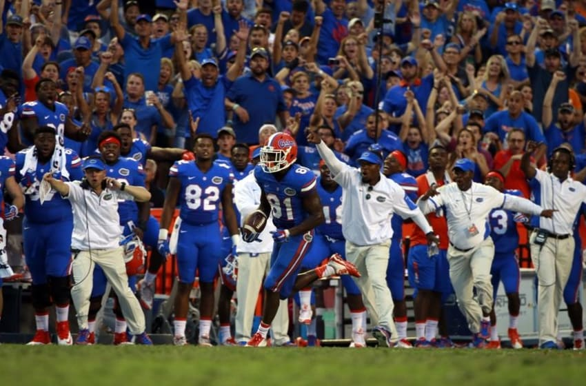 Sep 26, 2015; Gainesville, FL, USA; Florida Gators wide receiver Antonio Callaway (81) runs the ball in for a 63 yard touchdown during the second half against the Tennessee Volunteers at Ben Hill Griffin Stadium. Florida Gators defeated the Tennessee Volunteers 28-27. Mandatory Credit: Kim Klement-USA TODAY Sports