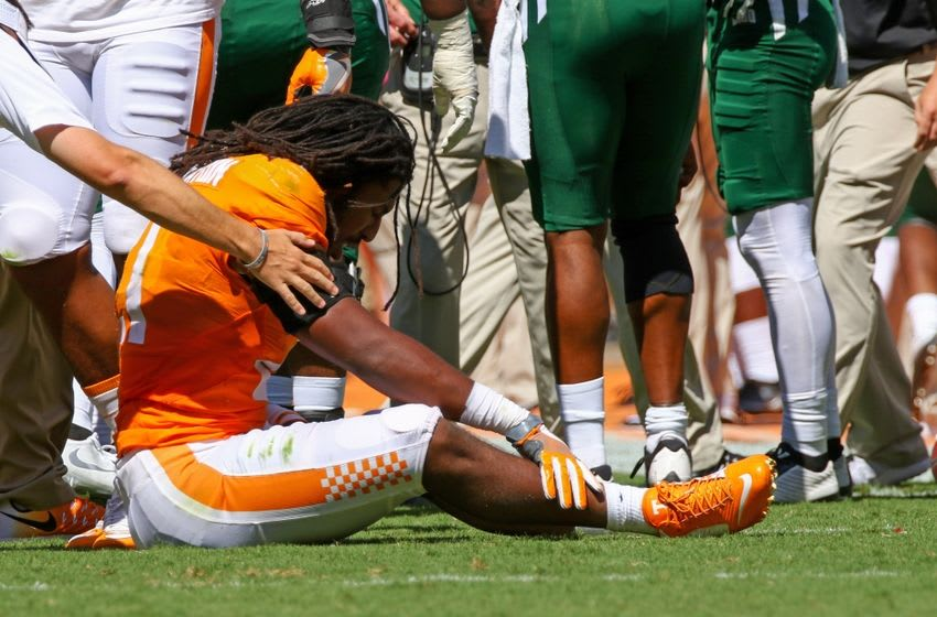 Sep 17, 2016; Knoxville, TN, USA; Tennessee Volunteers linebacker Jalen Reeves-Maybin (21) during the first half against the Ohio Bobcats at Neyland Stadium. Mandatory Credit: Randy Sartin-USA TODAY Sports