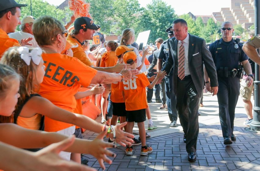 Sep 24, 2016; Knoxville, TN, USA; Tennessee Volunteers head coach Butch Jones during the Vol Walk before the game against the Florida Gators at Neyland Stadium. Mandatory Credit: Randy Sartin-USA TODAY Sports
