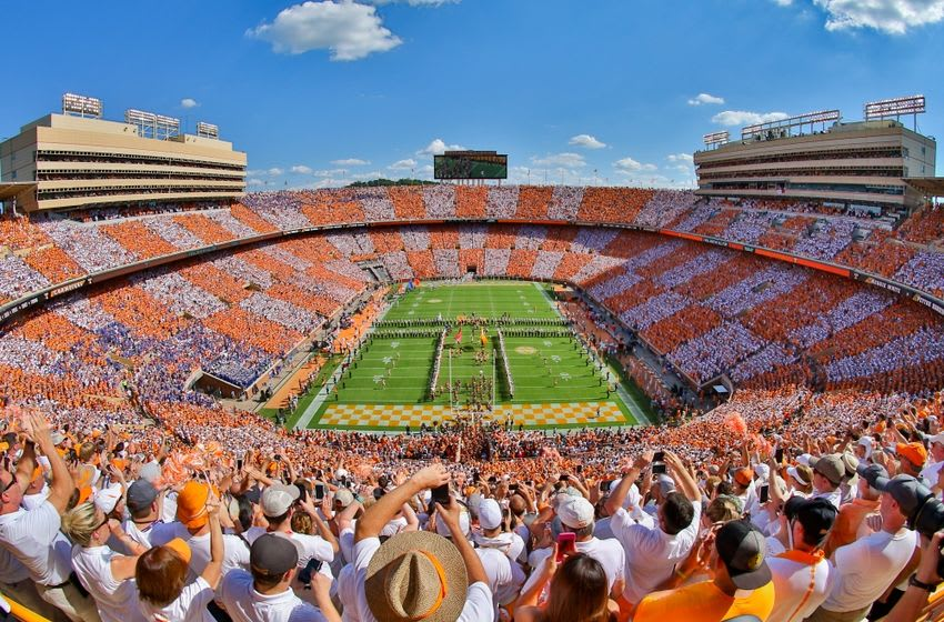 Sep 24, 2016; Knoxville, TN, USA; General view of the Tennessee Volunteers running through the T before the game against the Florida Gators at Neyland Stadium. Mandatory Credit: Randy Sartin-USA TODAY Sports