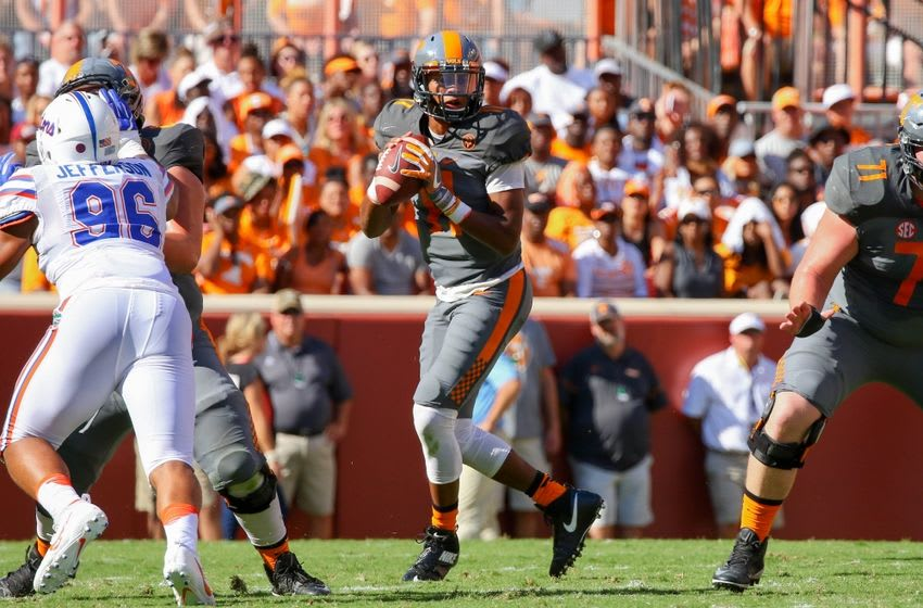 Sep 24, 2016; Knoxville, TN, USA; Tennessee Volunteers quarterback Joshua Dobbs (11) drops back to pass the ball against the Florida Gators during the first quarter at Neyland Stadium. Mandatory Credit: Randy Sartin-USA TODAY Sports
