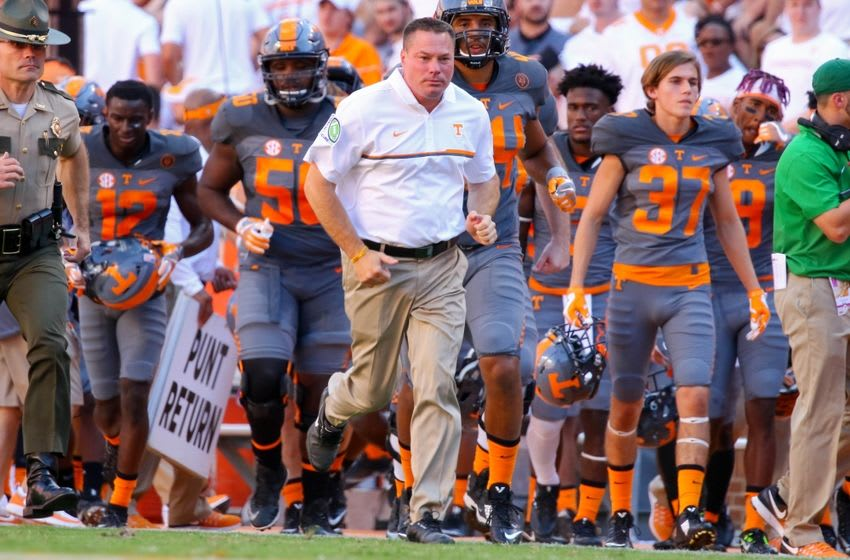 Sep 24, 2016; Knoxville, TN, USA; Tennessee Volunteers head coach Butch Jones leaves the field for halftime after the second quarter against the Florida Gators at Neyland Stadium. Mandatory Credit: Randy Sartin-USA TODAY Sports