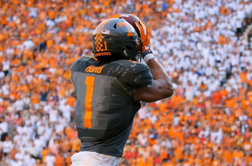 Sep 24, 2016; Knoxville, TN, USA; Tennessee Volunteers running back Jalen Hurd (1) catches a pass for a touchdown against the Florida Gators during the second quarter at Neyland Stadium. Mandatory Credit: Randy Sartin-USA TODAY Sports