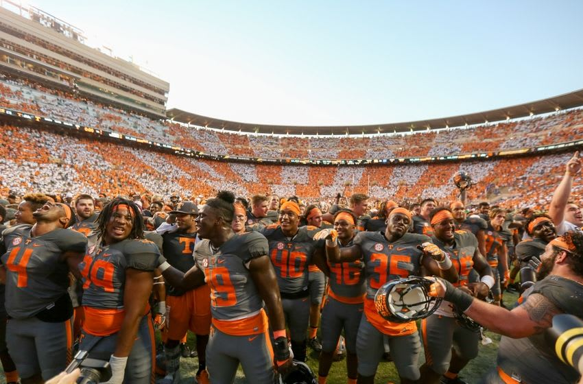 Sep 24, 2016; Knoxville, TN, USA; The Tennessee Volunteers celebrate after a victory over the Florida Gators at Neyland Stadium. Tennessee won 38 to 28. Mandatory Credit: Randy Sartin-USA TODAY Sports