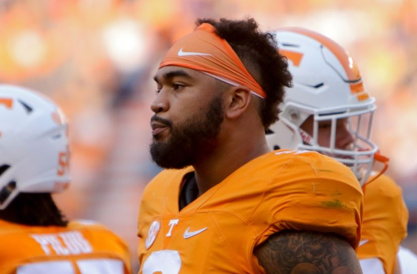 Nov 5, 2016; Knoxville, TN, USA; Tennessee Volunteers defensive end Derek Barnett (9) during the second quarter against the Tennessee Tech Golden Eagles at Neyland Stadium. Mandatory Credit: Randy Sartin-USA TODAY Sports