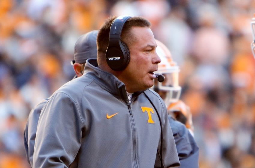 Nov 19, 2016; Knoxville, TN, USA; Tennessee Volunteers head coach Butch Jones during the first quarter against the Missouri Tigers at Neyland Stadium. Mandatory Credit: Randy Sartin-USA TODAY Sports
