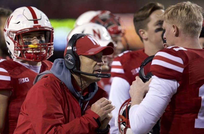 Nov 12, 2016; Lincoln, NE, USA; Nebraska Cornhuskers head coach Mike Riley talks to quarterback Ryker Fyfe (17) during the final moments of the game against the Minnesota Golden Gophers in the second half at Memorial Stadium. Nebraska won 24-17. Mandatory Credit: Bruce Thorson-USA TODAY Sports