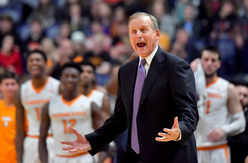 Dec 18, 2016; Knoxville, TN, USA; Tennessee Volunteers head coach Rick Barnes yells during the second half of the Battle on Broadway against the Gonzaga Bulldogs at Bridgestone Arena. Gonzaga won 86-76. Mandatory Credit: Jim Brown-USA TODAY Sports