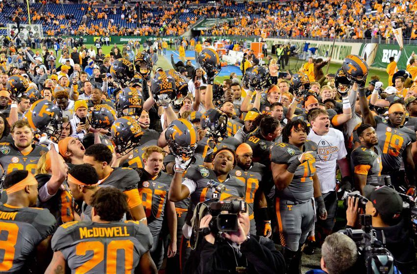 Dec 30, 2016; Nashville , TN, USA; Tennessee Volunteers celebrate after defeating the Nebraska Cornhuskers 38-24 at Nissan Stadium. Mandatory Credit: Jim Brown-USA TODAY Sports