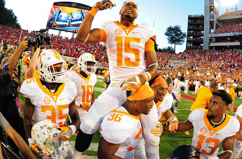 ATHENS, GA - OCTOBER 1: Jauan Jennings #15 of the Tennessee Volunteers rides the shoulders of Gavin Bryant #36 after making the game winning catch against the Georgia Bulldogs at Sanford Stadium on October 1, 2016 in Athens, Georgia. (Photo by Scott Cunningham/Getty Images)