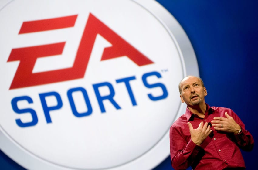 LOS ANGELES, CA - JUNE 14: President of Electronic Arts Sports (EA Sports) Peter Moore talks about new games at an EA press briefing ahead of the Electronic Entertainment Expo (E3) at the Orpheum Theater June 14, 2010 in Los Angeles, California. The annual video game trade conference and show at the Los Angeles Convention center runs from June 15-17. (Photo by Michal Czerwonka/Getty Images)