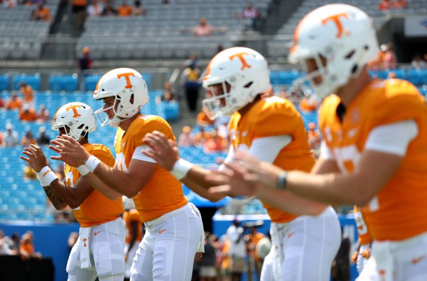 CHARLOTTE, NC - SEPTEMBER 01: Jarrett Guarantano #2 of the Tennessee Volunteers warms up before their game against the West Virginia Mountaineers at Bank of America Stadium on September 1, 2018 in Charlotte, North Carolina. (Photo by Streeter Lecka/Getty Images)