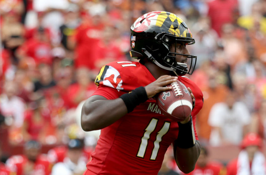 LANDOVER, MD - SEPTEMBER 1: Quarterback Kasim Hill #11 of the Maryland Terrapins throws a first half pass against the Texas Longhorns at FedExField on September 1, 2018 in Landover, Maryland. (Photo by Rob Carr/Getty Images)