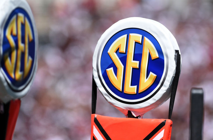 COLUMBIA, SC - SEPTEMBER 01: A detail view of the SEC logo on a field marker during the game between the Coastal Carolina Chanticleers and the South Carolina Gamecocks at Williams-Brice Stadium on September 1, 2018 in Columbia, South Carolina. (Photo by Lance King/Getty Images)